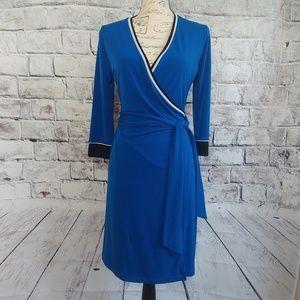 Ellen Tracy blue wrap dress